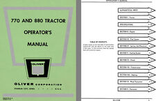 Oliver 770 and 880 Tractor Operators Manual