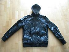 Young & Rich Herren Leder Jacke mit Kapuze Gr. L schwarz Sweateinsatz abnehmbar