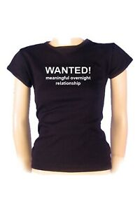 Girls Slogan Tee - Wanted Meaninful Overnight Relationship