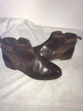 Ugg Australia Demi Ladies Brown Leather Ankle Zip Boots 4.5/4 Ref Ba18