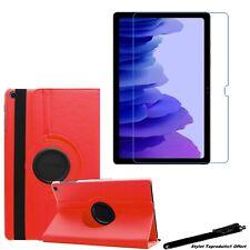 """Housse Etui Rouge pour Samsung Galaxy Tab A7 10.4"""" 2020 T500+Vitre de protection"""