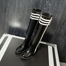 Vogue Women's Stripe Block High Heels Knee High Boots Knight Plus Size 3 Color