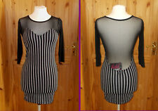 MOTEL black white stripe stretch chiffon 3/4 sleeve mini dress BNWT S 8-10 GOTH