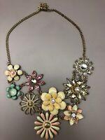 Vintage Enamel Flower Necklace Gold Tone White Pink Blue Faux Stones  Nice