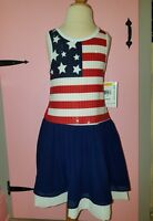 Girls Bonnie Jean , Girls Red White Blue American Flag Patriotic Dress size 7_16