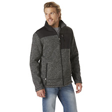 Men's Outdoor Spirit Sweater Jacket with Sherpa Fleece Gray L #NKXDS-1198