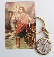 St Christopher Christian Religious Key Chain Ring with Prayer Card