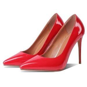 Black Women's Pointy Toe Stilettos High Heel Slip On Party 41/42/43 Shoes L