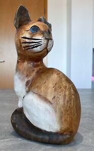 """Katzenfigur Figur aus Holz geschnitzt Handarbeit """"Katze"""" Siamkatze Deko 29cm"""