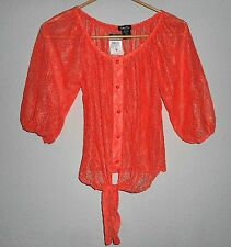Rue 21 WOMEN'S PRETTY LACE Faux BF TIE BLOUSE-SZ medium-NYLON SPANDEX-NWT-SEXY!