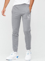 RRP - £90.00 Armani Exchange AX Icon Embroidered Logo Jogging Bottoms, Grey, L