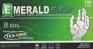 Emerald 6803 Large Grip Powder-Free Latex Gloves – 8 Mil