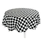 RACING CAR PARTY - Chequered Flag Round Tablecover / Plastic Tablecloth