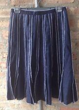 Tweeds Linen Skirt~4~Navy Blue~Open Stitching Pleats~Lined~Full