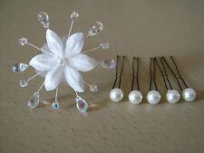 Lot épingles/Bijoux Cheveux accessoires Mariée/Mariage/Soirée Fleur/Perles Blanc