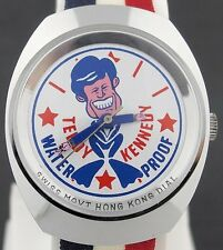 "Vintage wind-up Teddy Kennedy as a Frog ""Waterproof"" Political Character Watch"