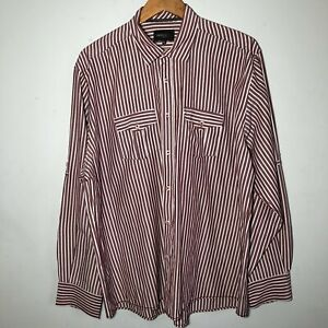 REMUS UOMO Men's Shirt Long Sleeved White/Maroon Red Striped Size XXL VGC