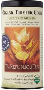 Organic Turmeric Ginger Green Tea by The Republic of Tea, 50 tea bag