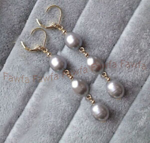 9-10mm Natural Silver Gray Freshwater Pearl Drop Dangle Gold Leverback Earrings