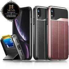 For iPhone XR Vena【vCommute】 Leather Wallet Card Slot Flip Stand Cover Case Pink