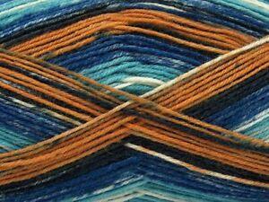 (1) 100 Gram Smart Sock Yarn Ice #67408 Sienna Blue Pattern Superwash Wool Nylon