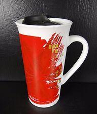 Starbucks 2014 Red Gold Starburst Travel Mug With Lid 12 oz. Holiday Christmas