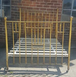 Antique late Victorian Edwardian standard double brass iron bed 1900