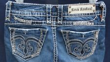 Rock Revival Women's Adele Straight Distressed Jeans Sz 25x31 EUC!