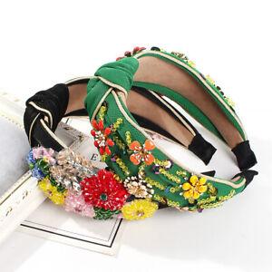 Baroque Women's Flower Embellished Headband Jewelled Hairband Hair Accessories