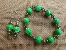Handmade Polymer Clay Beaded Bracelet and Ear-rings Set