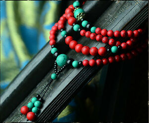 Tibet Buddhist  6mm Turquoise Red Prayer Beads Bracelet Necklaces