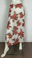gonna floreale maxi lunga usato donna L vita alta estiva spacco skirt used T4940