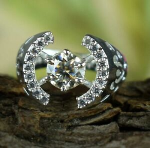 925 Silver 2.18 Ct Round Cut Champagne Diamond Solitaire Halo Unisex Ring