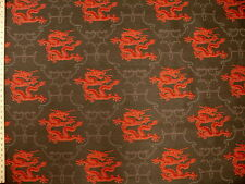 Jian Lacquer Oriental Dragon Chinoiserie Red and charcoal Upholstery Fabric