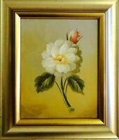 leider unsigniert - schickes Stillleben-Gemälde: - WEISS-ROSA ROSE -