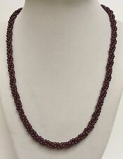 "132ctw Raspberry Rhodolite Garnet 20"" Twisted Bead Necklace in Sterling Silver"