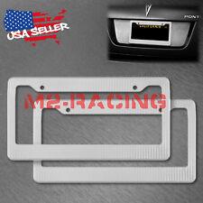 2Pcs Plastic Silver Carbon Fiber Style License Plate Frames Front & Rear Bracket