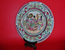 Chinese Royal Queen w/ Female Bodyguard & Servant Qianlong Mark Porcelain Plate