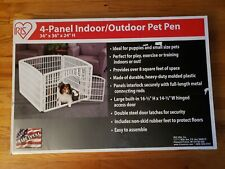 """New listing Iris 4-Panel Indoor/Outdoor Pet Pen with Gate 36"""" X 36"""" X 24"""" High White New"""