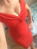 NEW Red Midi Cleavage New Look Long Evening Dress size 8-10 bodycon wiggle