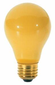Satco S3939 100 Watt A19 Incandescent Yellow Bug Light Bulb, 2-Pack