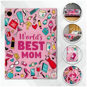World's Best Mom Plush Blanket 50x60 Mother's Day Blanket For Mom Throw Blanket