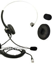 Office Home Telephone Headset With RJ MOdular Plug for AT&T GE Phone + Cushion