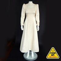 VINTAGE BEAUTY Satin Lace Prairie Dress 1970s 1980s Maxi Creme Wedding XS/S 9344