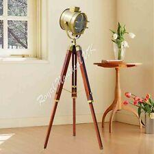 NEW Nautical Wooden Tripod LED Lighting Floor Lamp Vintage Antique Style Marine