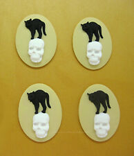 color Goth Halloween Emo 40mm x 30mm Cameos 4 Black Cat & White Skull on Ivory