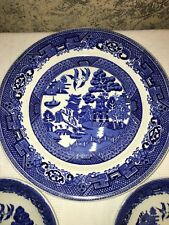 3 Vintage Blue Willow Wood & Sons made England 1 dinner plate 2 saucers oriental