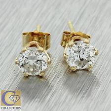 Vintage Estate 14k Solid Yellow Gold 1cttw Diamond 5mm Stud Earrings