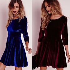 Winter Women Velvet Dress Party Grace Skater Mini Dress Long Sleeve Dress
