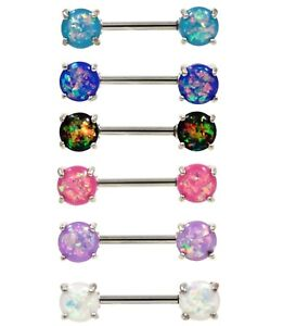 """FAUX RESIN-OPAL DAZZLE NIPPLE PIERCING BARBELLS RINGS 14g 9/16"""" (Sold in Pairs)"""